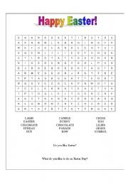 English Worksheet: Easter Wordsearch for kids!