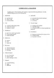 English Worksheets: Conservation: A Challenge
