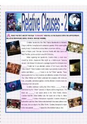 English Worksheets: Relative Clauses 2 - CORALINE