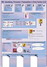 English Worksheets: Wh-questions, pronousn and possessives