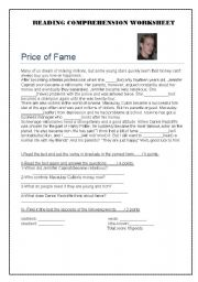 English Worksheet: The Price of Fame