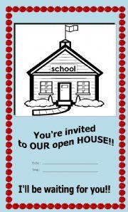 English Worksheet: OPEN HOUSE INVITATION