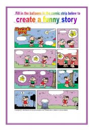 English Worksheet: Create the story for a comic strip
