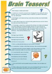 English Worksheet: BRAIN TEASERS  PART 3! (FOR ADULTS) With keys