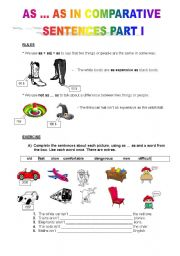 English Worksheet: AS ... AS IN COMPARISON SENTENCES PART I