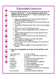 English Worksheets: Relationships expressions and questionnaire