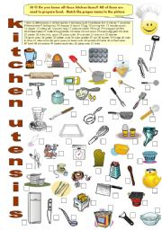 English Worksheet: FOOD 9 - Kitchen utensils