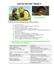 English Worksheets: Task for the film Shrek2