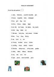 English Worksheets: ODD WORD 1