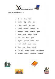 English Worksheets: ODD WORD - 2