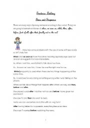 English Worksheet: linking words: after/before/as soon as/ when/while...