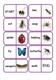 English Worksheet: bugs dominoes