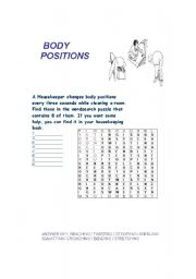 English Worksheets: BODY POSITIONS