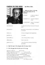 English Worksheet: CANDLE IN THE WIND-Song by Elton John