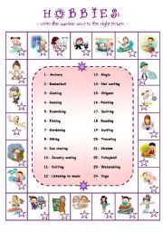 English Worksheets: Hobbies in alphabetical order