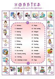 English Worksheet: Hobbies in alphabetical order