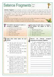 English Worksheets: Sentence Fragments