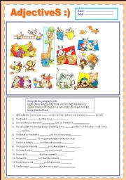 English Worksheet: ADJECTIVES [OPPOSITE] :)