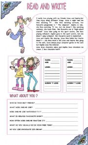 English Worksheet: READ AND WRITE