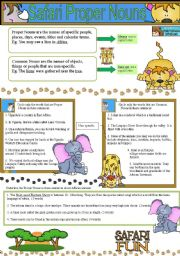 English Worksheets: Proper Nouns and Common Nouns- Safari Fun
