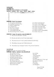 English Worksheet: in order to, in spite of