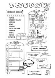 English Worksheets: I can draw series (9/10) - toys