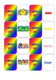 English Worksheets: Numbers - Memory game
