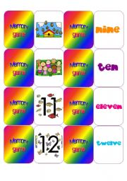 English Worksheets: Numbers - Memory game 2nd part
