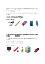 English worksheet: There is/are in a bag