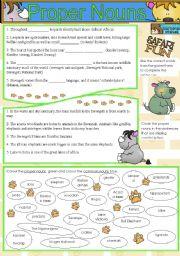 English Worksheets: Proper Nouns- African Safari content focus