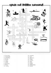 English Worksheet: SPORTS AND HOBBIES CROSSWORD black&white printer-friendly