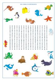 English Worksheet: Sea  Animals Wordsearch