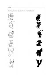 English Worksheets: ANIMALS AND SHADOWS