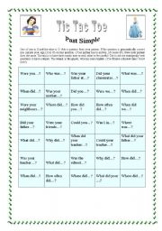 English Worksheet: Tic Tac Toe - Past Simpe