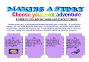 English Worksheet: CHOOSE YOUR OWN ADVENTURE _ MAKING A STORY