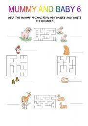 English Worksheets: MUMMY AND BABY 2