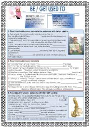 English Worksheet: Be or Get used to