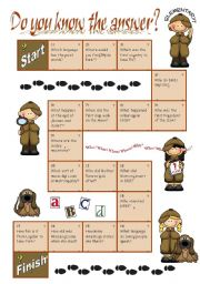 English Worksheet: Boardgame TRIVIA QUESTIONS