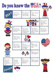 English Worksheet: Boardgame DO YOU KNOW THE USA