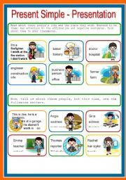English worksheet: PRESENT SIMPLE, PRESENTATION