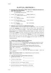 English Worksheets: Elliptical Construction