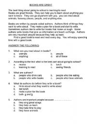 English Worksheets: BOOKS  ARE  GREAT - BEGINNER COMPREHENSION