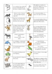 English Worksheet: Animals and their easy descriptions