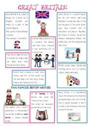 English Worksheet: ENGLISH-SPEAKING COUNTRY (1) - GREAT BRITAIN