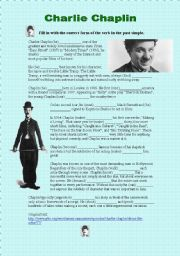English Worksheets: Charlie Chaplin - past simple