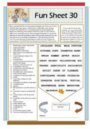 English Worksheets: Fun Sheet 30