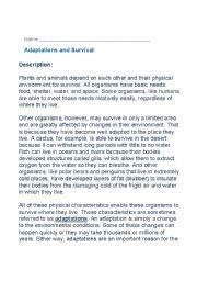 English Worksheets: Adaptations and Survival - Comprehension