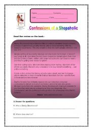Nice worksheet on tha book Shopaholic Confessions!