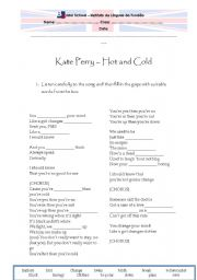 English Worksheet: Kate Perry - Hot and cold
