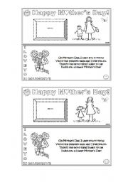 English Worksheet: Happy mother´s day card (one for boys and another for girls)